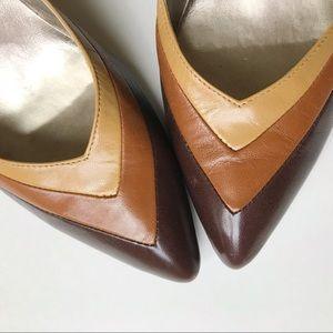 Retro Brown + Tan Pointed Toe Maripé High Heel